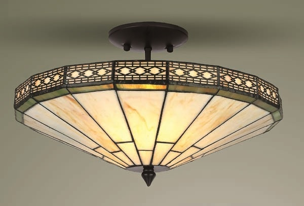 Mission Tiffany Style Glass Semi Flush Ceiling Light Tiffany Style Lighting Table Lamps Wall Lights And Floor Lamps